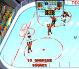 Tecmo Super Hockey Genesis A goal has been scored.