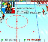 Tecmo Super Hockey Genesis Referee calls a penalty.
