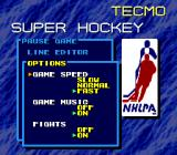 Tecmo Super Hockey Genesis Options during the game