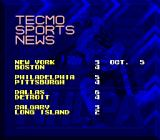 Tecmo Super Hockey Genesis Results of the games that have been played.