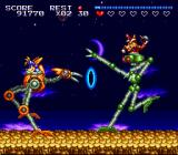 Sparkster SNES Fighting a mid-boss while riding a metal ostrich.