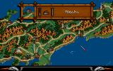 Lords of the Rising Sun Amiga The main screen: A scrollable map of ancient Japan with all troops on it.