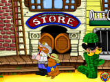 Fisher-Price Great Adventures: Wild Western Town Windows Exploring outside of the store -- Bandit Bob is disguised as a cactus