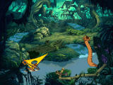 Disney's Hot Shots: Swampberry Sling Windows A snake appears as Timon is windsurfing by