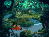 Disney's Hot Shots: Swampberry Sling Windows Timon and Pumbaa sail by
