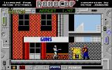 RoboCop Atari ST Firing a triple-shot against a grenade-hurling assailant taking cover behind destructable crates
