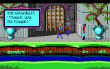 Roberta Williams' King's Quest I: Quest for the Crown DOS Graham talks to the castle guards in the game's introduction. (EGA)