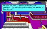 Roberta Williams' King's Quest I: Quest for the Crown DOS King Edward speaks to Graham. (EGA)