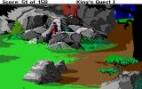 Roberta Williams' King's Quest I: Quest for the Crown DOS Graham comes out of the cave. (EGA)
