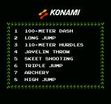 Track & Field NES List of events
