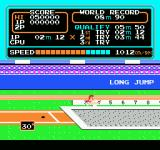 Track & Field NES In the middle of a jump