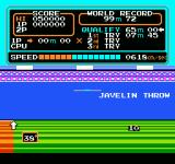 Track & Field NES Javelin in midflight