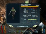 Space Siege Windows The character info screen with information about Walker, his weapon and HR-V.