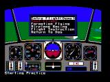 Chuck Yeager's Advanced Flight Simulator DOS Main menu (CGA composite mode)