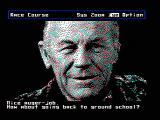 Chuck Yeager's Advanced Flight Simulator DOS Chuck Yeager criticizes your flight. (CGA composite mode)