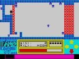 Android One: The Reactor Run ZX Spectrum First screen, with the Android enclosed in a safe room he must shoot his way out of. The levels actually wrap around, so what you see to the left of the Android is the last screen.