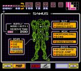 Super Metroid SNES Press Start to see what equipment Samus has picked up