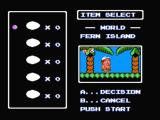 Adventure Island II NES Choosing items before starting a level