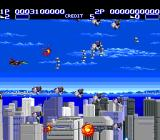 Air Buster TurboGrafx-16 Going through a swarm of small enemies