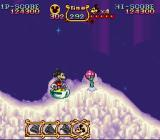 The Magical Quest Starring Mickey Mouse SNES Riding on an icy platform.