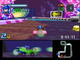 Mega Man Battle & Chase PlayStation Racing against Shadow Man in a stage filled with hazards like spikes, slippery floors and jumps.