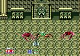 Golden Axe II Genesis Each character has one unique special attack (press jump + slash at the same time); here Gilius takes out two blood skeletons by swinging around his axe
