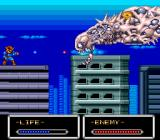 Shockman TurboGrafx-16 Some of the buildings collapse when you jump on them