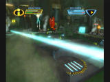 The Incredibles: Rise of the Underminer GameCube Jumping over a laser barrier.
