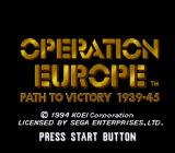 Operation Europe: Path to Victory 1939-45 Genesis Title screen