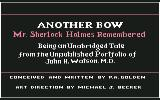 "Sherlock Holmes in ""Another Bow"" Commodore 64 Title Screen (descriptive)"
