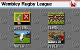 Wembley Rugby League DOS Main menu.