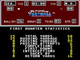 Joe Montana Football SEGA Master System End of first quarter statistics doesn't look good for me.