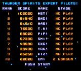 Thunder Spirits SNES High score table