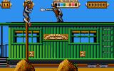 Back to the Future Part III DOS Jump and duck obstacles that whiz by while the train gains speed.