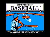 Championship Baseball Apple II Title screen