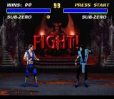 Ultimate Mortal Kombat 3 SNES A fight between the old Sub-Zero and the new Sub-Zero is about to start
