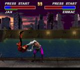 Ultimate Mortal Kombat 3 SNES Jax attempts to break Ermac's back
