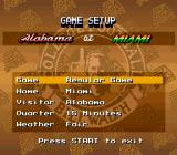 Bill Walsh College Football  SNES Main menu