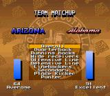 Bill Walsh College Football  SNES Team match-up