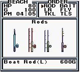 Legend of the River King 2 Game Boy Color Rods