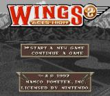 Wings 2: Aces High SNES Main menu