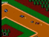 Buggy Run SEGA Master System Me (Blue) racing towards a random item after leaving a little gift for the racer behind, a mine.
