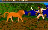 Sinbad and the Throne of the Falcon Amiga Sinbad fights with a lion.
