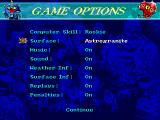 Blood Bowl DOS The game options allow you to fiddle around with rules, field conditions, and difficulty.