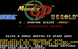Super Monaco GP Amiga Main menu
