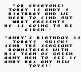 Disney's Toy Story Game Boy Story is told in a nice chunky pixel font.