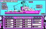 Advanced Destroyer Simulator DOS Taking a look at the damage report. (CGA)