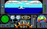 Advanced Destroyer Simulator DOS Scored a hit with one of my torpedoes. (EGA)