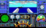 Advanced Destroyer Simulator DOS Firing with the cannons, the enemy ship is already burning. (EGA)