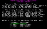 Anti-Ballistic-Missile DOS Game instructions